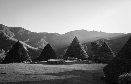 Wae Rebo Trekking - black and white view of Wae Rebo